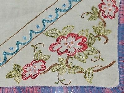 VINTAGE Hand-Embroidered Tablecloth Flowers