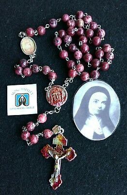 Chaplet Holy Face reparation gemstones with a reversible Holy Face poster