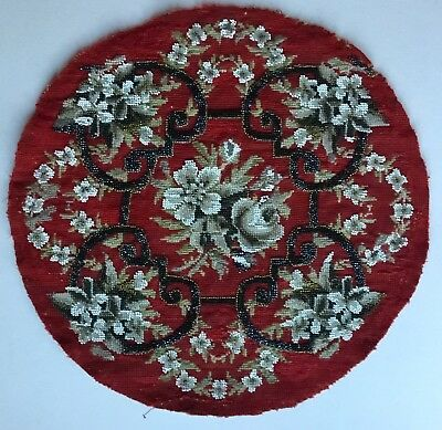 Lovely Antique Victorian Tapestry + Beadwork Round Panel For Cushion Or Framing