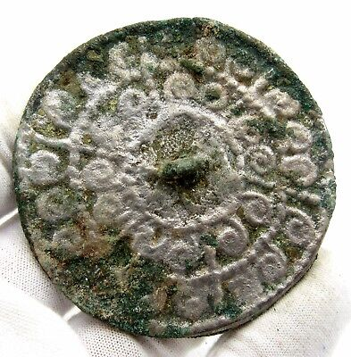 Medieval Decorated Pewter Mirror - Historic Artifact Stunning - Q82