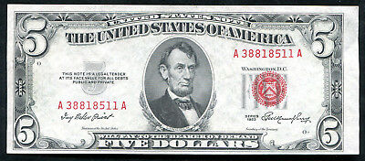 1953 $5 Five Dollars Red Seal Legal Tender United States Note Unc (C)