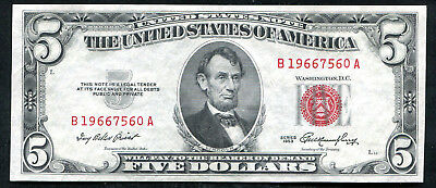1953 $5 Five Dollars Red Seal Legal Tender United States Note About Unc (B)