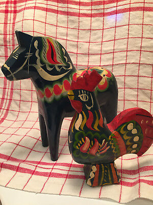 """VTG Old Blue- Swedish- 8"""" Dala Horse AND 7"""" Dala Rooster - Hand Carved Painted"""