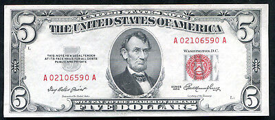 1953 $5 Five Dollars Red Seal Legal Tender United States Note Gem Unc (B)