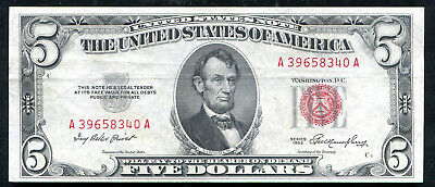 1953 $5 Five Dollars Red Seal Legal Tender United States Note Unc (D)