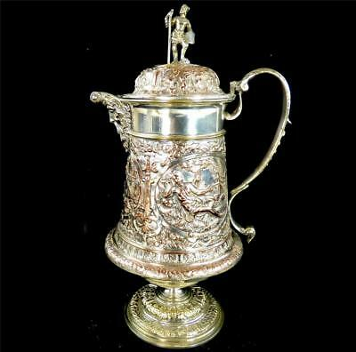 Antique 19Th Century Silver Plate Repusse Pitcher Jug Patientia Solertia Nolvi