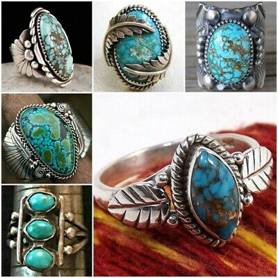Antique 925 Silver Ring Turquoise Gemstone Anniversary Wedding Engagement Sz5-12