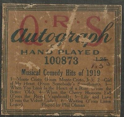 Musical Comedy Hits of 1919, Played by Phil Ohman QRS 100873 Piano Roll Original