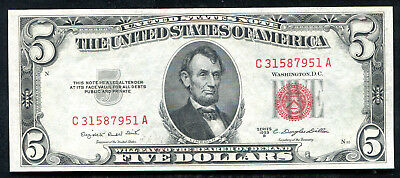 1953-B $5 Five Dollars Red Seal Legal Tender United States Note Unc