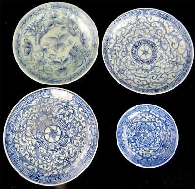 FOUR ANTIQUE 19th CENTURY CHINESE PORCELAIN BLUE & WHITE PLATES PLATES