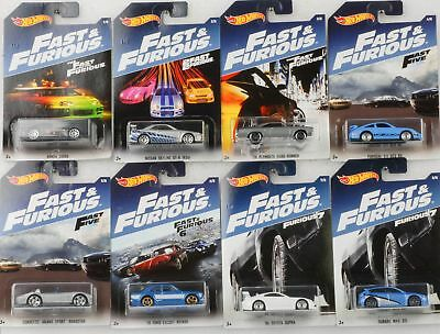 Fast & and Furious 8 pcs Set / Ford Porsche Skyline Honda Supra 1:64 Hot Wheels