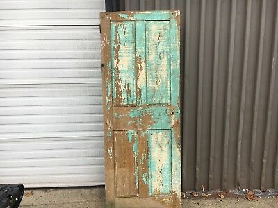 """c1830-40 raised four panel door old paint mortised & pegged 78"""" x 30 1/8"""""""