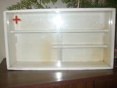 Antique Primitive APOTHECARY Medical Medicine CABINET Wood glass Red Cross Wall