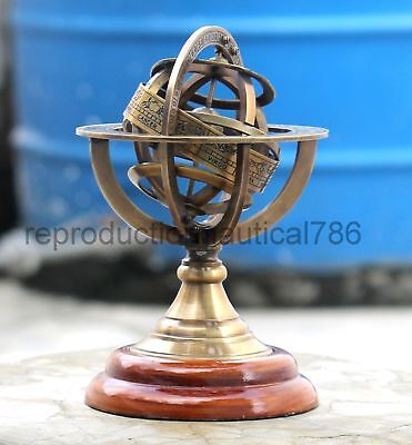 Antique Astrolabe Brass Armillary Sphere Vintage Wooden Base Nautical Armillary