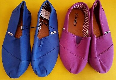 XOXO Girls - Lot of 2 - Blue/Purple Canvas Slip On Shoes Rubber Sole Size 3 NEW