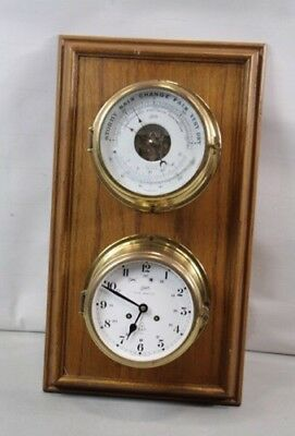 Vintage Schatz Royal Mariner 8 Day Chiming Ships Clock And Barometer Solid Brass