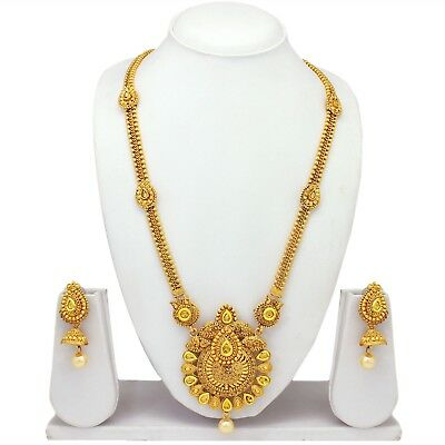 Traditional Indian Ethnic Wedding Gold Tone Necklace Earrings Bridal Jewelry Set