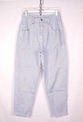 80's 90's Baggy Fit Jeans Vintage PINSTRIPED High Waist Cropped M or 29x28 w501