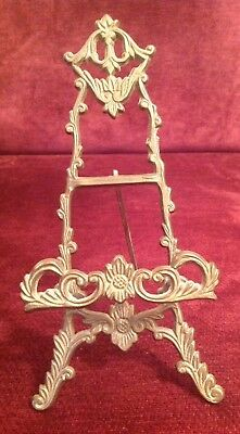 Vintage Ornate Small Brass Recipe/Cook Book Stand Or Decorative Easel