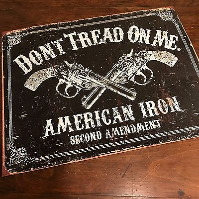 Don't Tread on Me Tin Metal Sign American Iron Second Amendment 16x12.5 inch