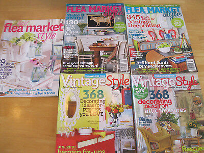 Lot Of 5 Magazines, Flea Market Style And Vintage Style By Country Almanac