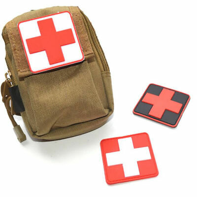 1/3pcs Outdoor Survival First Aid PVC Red Cross Hook Loop Fastener Badge Patch