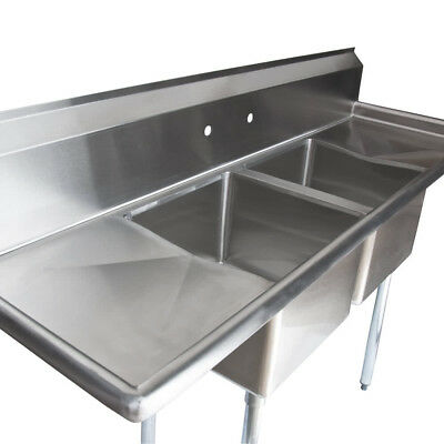 "72"" Stainless Steel 2 Compartment Commercial Restaurant Sink Two Drainboards NSF"
