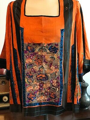 Vintage 1920's Chinese Embroidered Silk Top Arts & Crafts 1900-1920