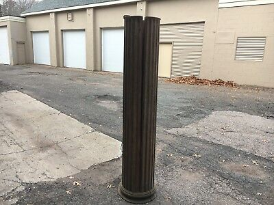 "c1890 solid oak fluted tapered column post with pedestal 76"" x 14-15.5"" diameter"