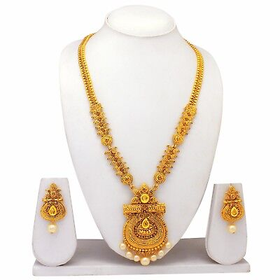 Long Elegant Indian Traditional Ethnic Gold Plated Wedding Jewelry Necklace Set