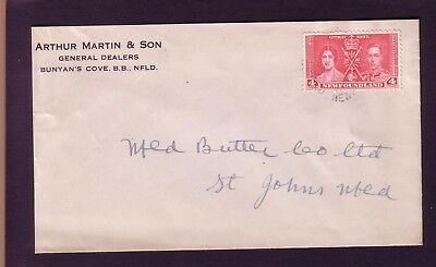 1937 NEWFOUNDLAND CORNER CARD COVER FROM BUNYAN'S COVE TO ST JOHN'S via RPO