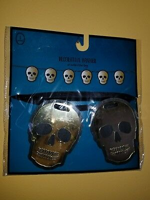 Skulls Day Of The Dead Gold Halloween Banner String Streamer Party Decoration