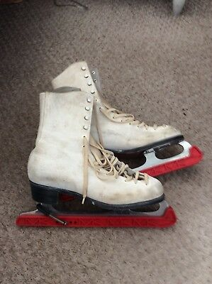 Ladies Hamaco White Kid Leather Ice Skating Boots And Guards Size 6
