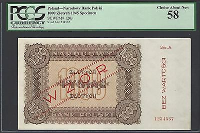 Poland 1000 Zlotych ND 1945 P120s Specimen About Uncirculated