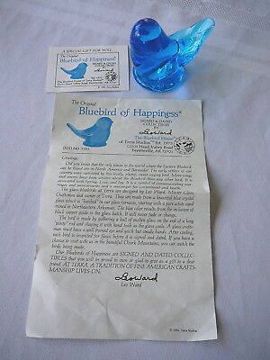 Leo Ward Glass Blue Bird of Happiness 1993 w/Documents