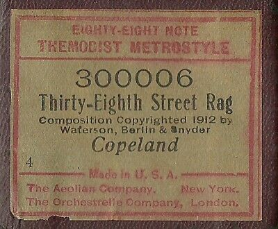 Thirty-Eighth St Rag, Les Copeland, Themodist Metrostyle 300006 Piano Roll Orig