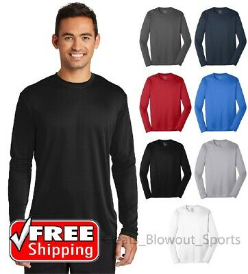 Mens Dri-Fit Long Sleeve Tee Workout Performance Moisture Wicking Gym T PC380LS