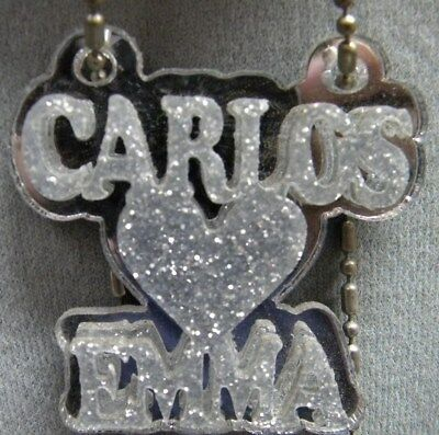 f1f8526123 Couple Name Necklace Double Name Plate Personalize Heart Laser Cut Custom  Design