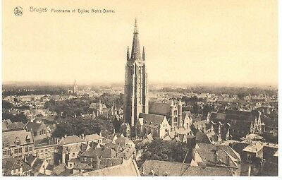 carte postale - Bruges - CPA - Panorama et Eglise notre-dame