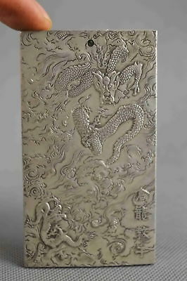 Collectable Decorative Old Miao Silver Carve Myth Dragon Dance Exorcism pendant