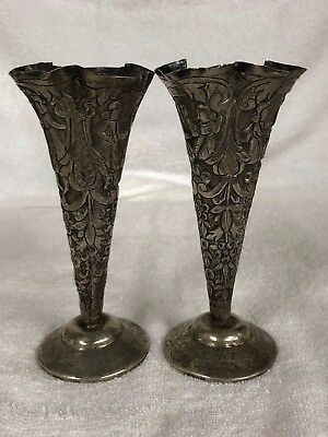Pre-Owned Small Solid Silver , Persian Iranian Solid Silver Set of 2 Vases