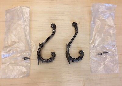 Pair 2 Solid Brass Vintage Antique Style Ornate Double Coat Hat Hooks NEW