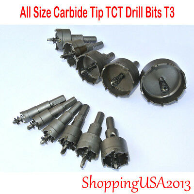 All Size Carbide Tip Drill Bit Alloy Hole Saw Wood Cutter Steel Metal Iron T3