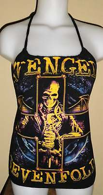 Ladies Avenged Sevenfold A7X Reconstructed Concert Tour Shirt Halter Top DiY