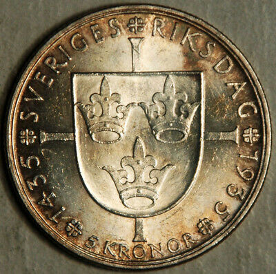 Sweden Silver 5 Kronor 1935 (Almost Unc!)