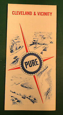 Vintage 1967 Pure Oil Cleveland & Vicinity Road Map Gas Service Station