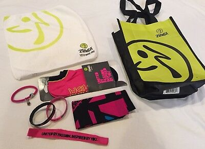 Zumba NEW Socks Headband Hair Tie Towel Bracelets Bag set lot
