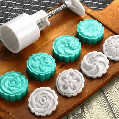Flower Mold Round 4 Stamps Pastry 50g Hand Pressing Cookie MoonCake Cutter