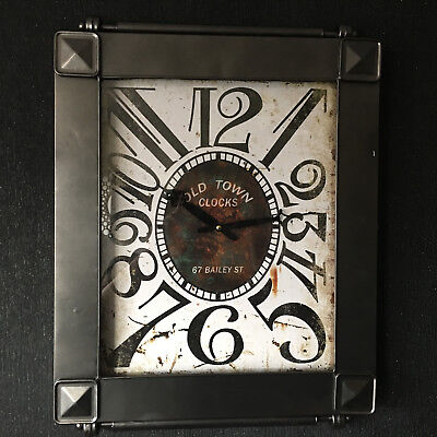 Large Industrial Wall Clock Vintage Old Town Brunell Metal Garden Wall Clock New