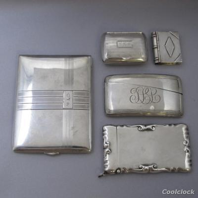 5 Pc Lot Vintage Sterling Silver Card Holders Cigarette Case Pill Boxes #AD311